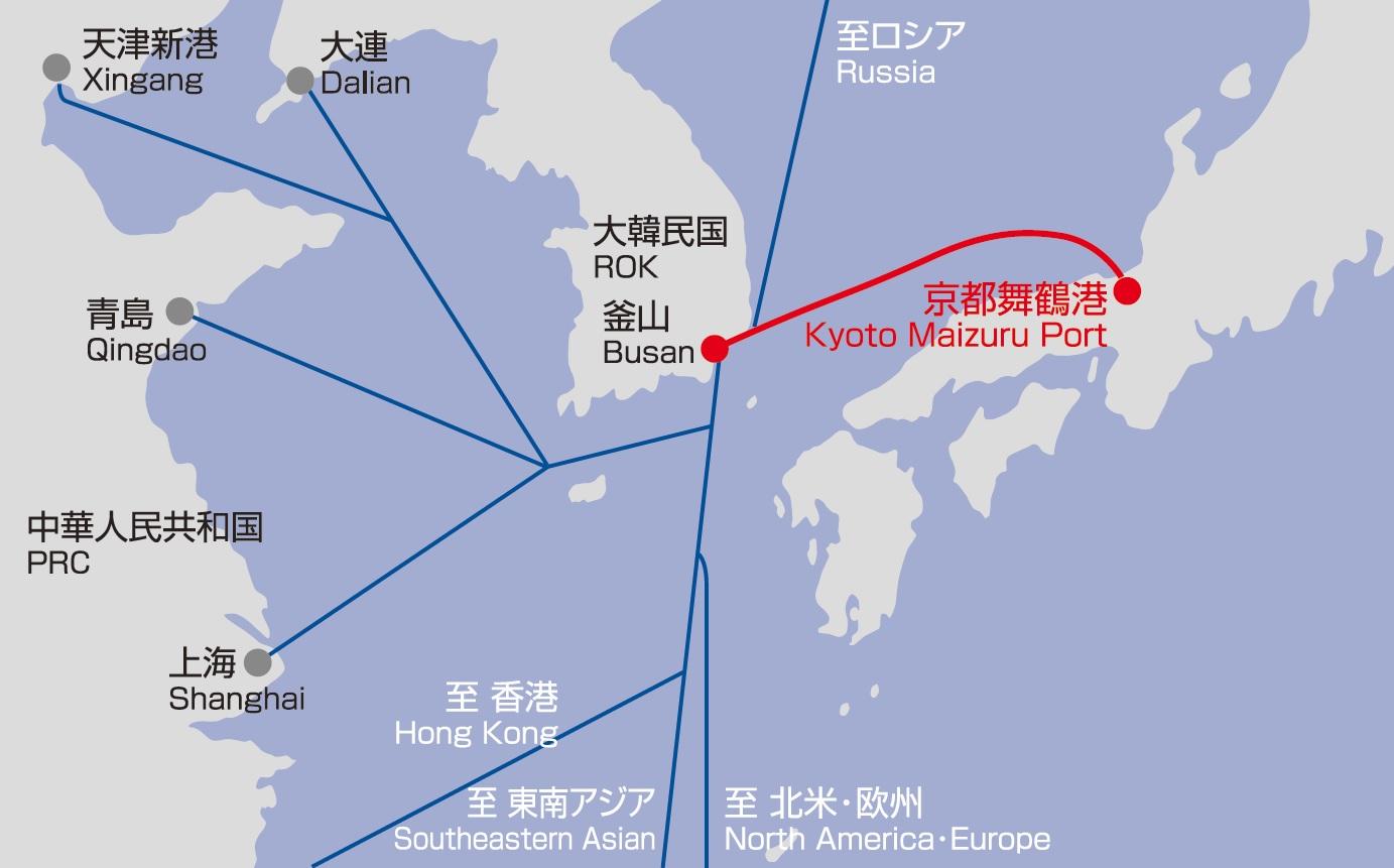韓国定期航路 航路図